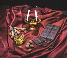 Обои Шоколад Корица Виски Бокалы Еда фото