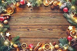 Фотография Новый год Праздники Доски Шишки Гирлянда