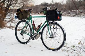 Обои Сумка Пиво Велосипед Снег