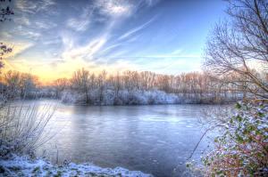 Картинка Времена года Зима Реки Небо HDR Природа