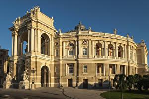 Обои Одесса Украина Дома Скульптуры Theatre of Opera and Ballet Города