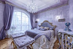 Обои Интерьер Дизайн Спальня Кровать Люстра Шторы фото