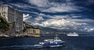 Обои Монако Дома Море Небо Корабли Побережье Монте-Карло Облака Музей Oceanographic Города фото