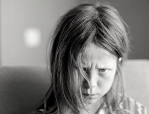 Фотография Девочка Лицо Черно белые Волосы Хмурость ребёнок