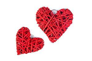 Картинка День святого Валентина Сердце Двое Красный Белый фон