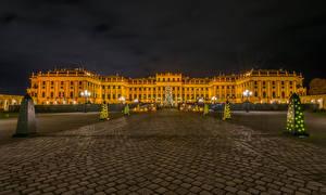 Обои Вена Новый год Австрия Дворец Елка Уличные фонари Гирлянда Городская площадь Schonbrunn Palace Города фото