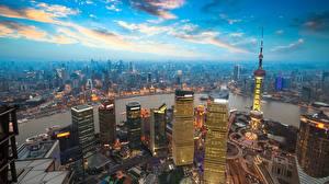 Картинка Шанхай Китай Здания Река Небо Мегаполиса Облако город