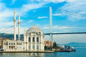 Картинка Стамбул Турция Храмы Пирсы Мосты Берег Мечеть