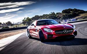 Обои Mercedes-Benz Красный Движение 2014 AMG Автомобили фото