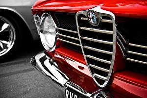 Картинки Крупным планом Альфа ромео Логотип эмблема Фары Красный автомобиль