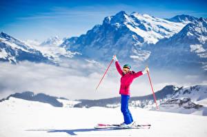 Обои Горы Лыжный спорт Снег Очки Спорт фото