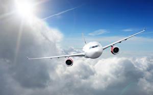 Обои Самолеты Пассажирские Самолеты Небо Облака Полет Авиация фото