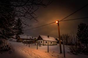 Обои Хорватия Зима Дома Ночь Снег Уличные фонари Города фото