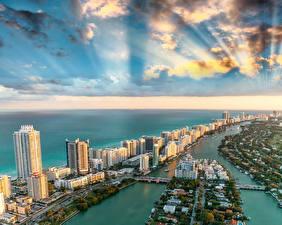 Обои США Дома Океан Небо Побережье Майами Флорида Облака Сверху Города фото