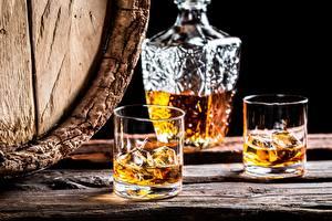 Фотографии Алкогольные напитки Виски Стакан Лед Пища