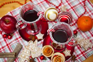 Картинка Праздники Новый год Напитки Кружка Шар Еда