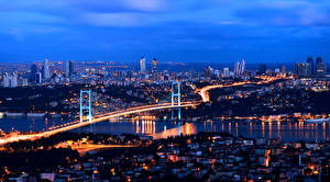 Картинка Стамбул Турция Дома Мосты Мегаполис Ночь Города