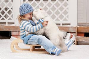 Обои Собаки Девочки Болоньез Шапки Сани Улыбка Сидит Смех Дети фото