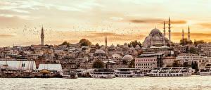 Картинка Стамбул Турция Дома Пристань Храмы Корабль Берег город