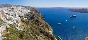 Обои Греция Море Дома Берег Фира Утес