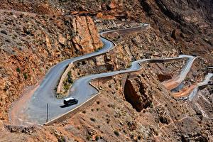 Картинки Марокко Горы Дороги Сверху Утес Gorges Dades Природа