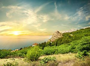 Фото Россия Крым Пейзаж Рассветы и закаты Море Небо Побережье Природа