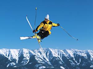 Обои Зима Лыжный спорт Прыжок Спорт фото