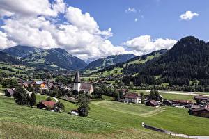 Фотография Германия Пейзаж Горы Дома Луга Облако Weissenburg Города