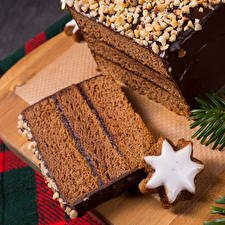 Обои Новый год Выпечка Печенье Шоколад Торты Кусок Еда фото
