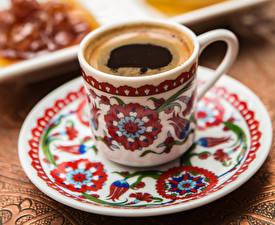 Обои Кофе Чашка Тарелка Еда фото