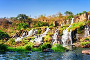 Обои Вьетнам Водопады Осень Камни Pongour waterfall Природа фото