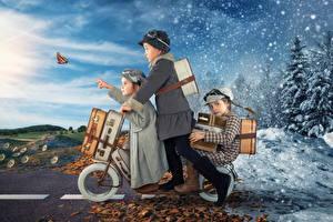 Картинка Зимние Весна Девочки Трое 3 Чемодан Снег Ребёнок