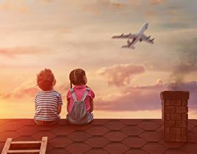 Картинки Самолеты Мальчики Девочки Вдвоем Спина Сидит Крыша Ребёнок