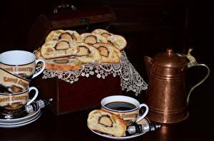 Обои Выпечка Кофе Чайник Черный фон Чашка Еда фото
