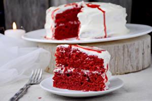 Обои Торты Кусок Красный Еда фото