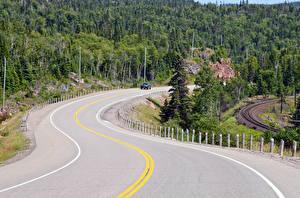 Обои Канада Дороги Леса Природа фото