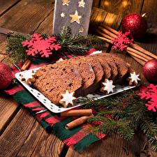 Обои Новый год Выпечка Кекс Доски Ветки Снежинки Еда фото