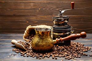 Картинки Кофе Кофемолка Зерна Турка Еда