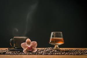 Фотография Кофе Орхидеи Виски Цветной фон Чашка Зерна Рюмка Пар Еда