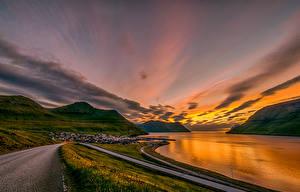Обои Дания Рассветы и закаты Берег Дороги Горы Leirvík Faroe Islands
