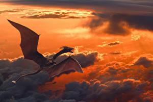 Обои Драконы Небо Полет Облака Фэнтези фото