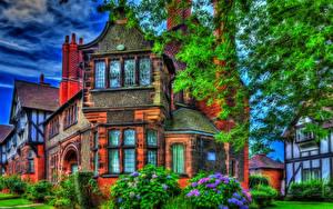 Обои Англия Дома HDR Дизайн Bebington Города фото