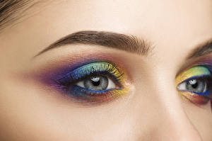 Обои Глаза Ресница Крупным планом Разноцветные Макияж Девушки картинки