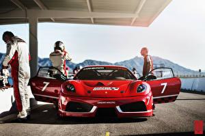 Фотография Феррари Спереди Красный Challage F430 Dream Racing Автомобили
