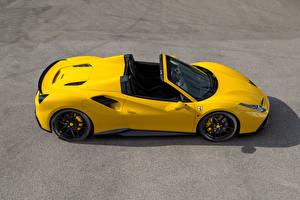 Обои Ferrari Тюнинг Желтый Кабриолет Сверху 2016 Novitec Rosso 488 Spider Автомобили