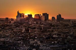 Фотография Франция Дома Рассветы и закаты Вечер Париж Мегаполис