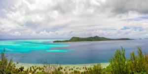 Обои Французская Полинезия Тропики Пейзаж Море Побережье Небо Остров Бора-Бора Природа фото
