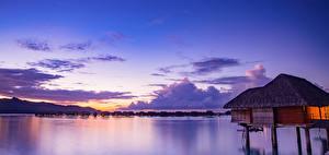 Обои Французская Полинезия Тропики Море Вечер Небо Рассветы и закаты Бора-Бора Бунгало Природа фото