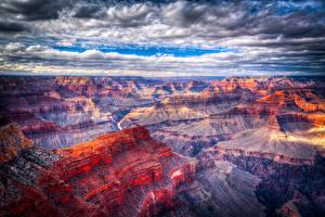 Фото Гранд-Каньон парк США Парк Облака Скала