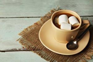 Фотография Горячий шоколад Маршмэллоу Чашка Блюдце Ложка